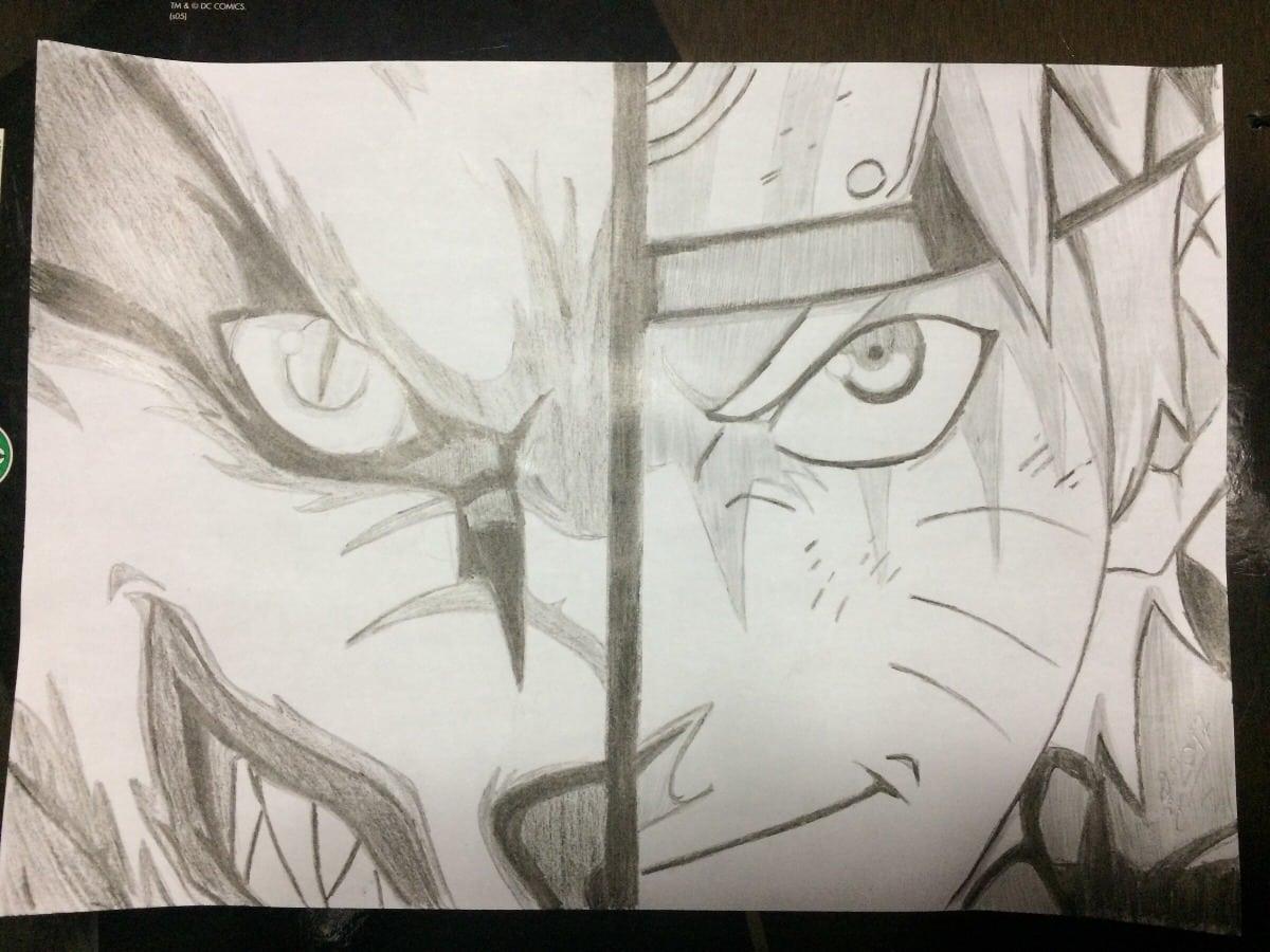 Desenho A Mão Livre Anime Manga Naruto Em Branco E Preto
