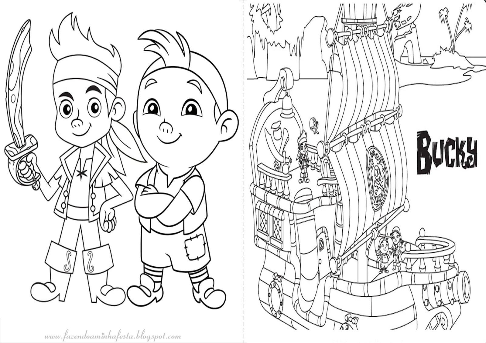 Jake E Os Piratas Da Terra Do Nunca Para Colorir