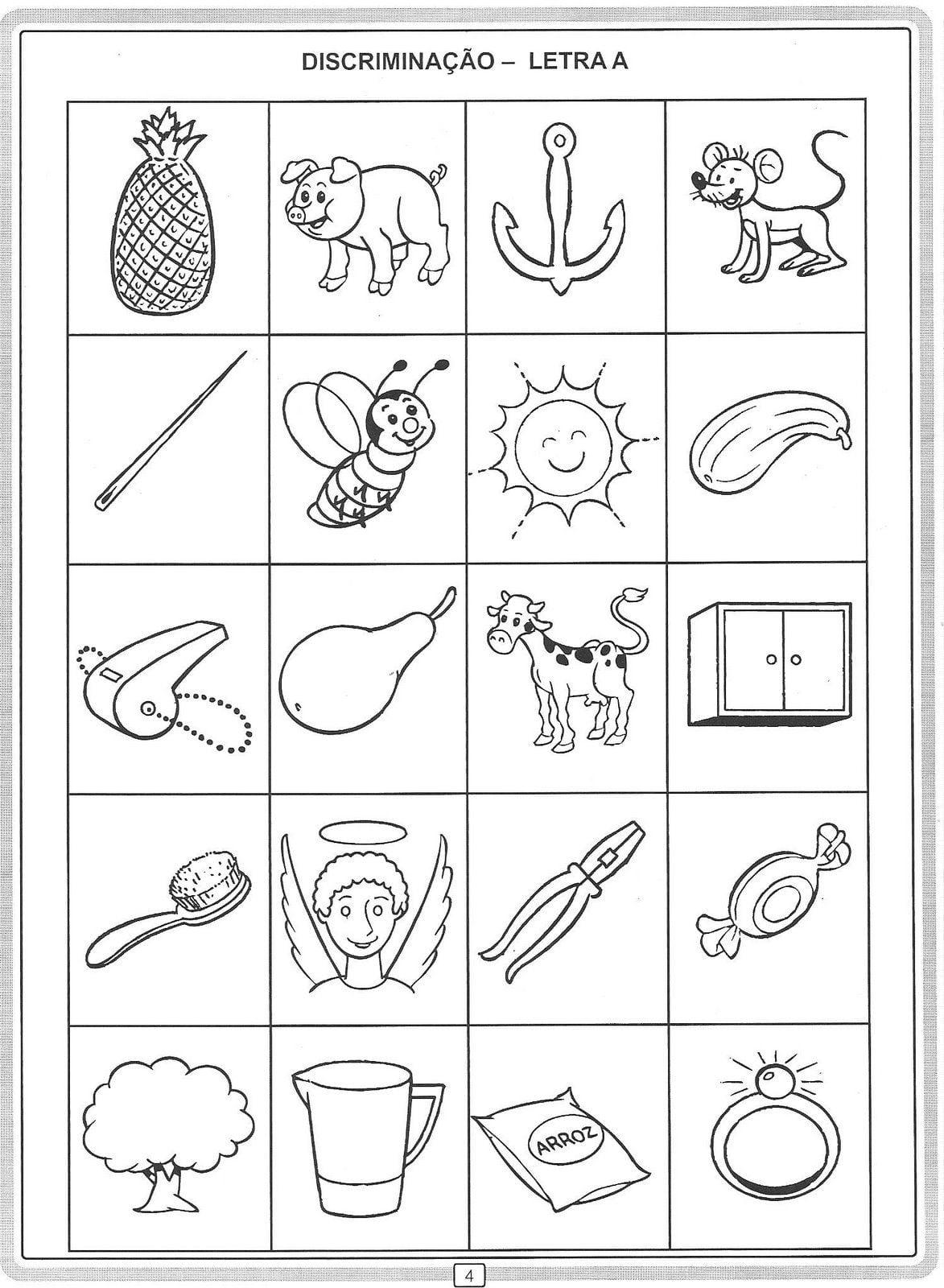 Atividade Para Alfabetização  Discriminando Letras De A A Z