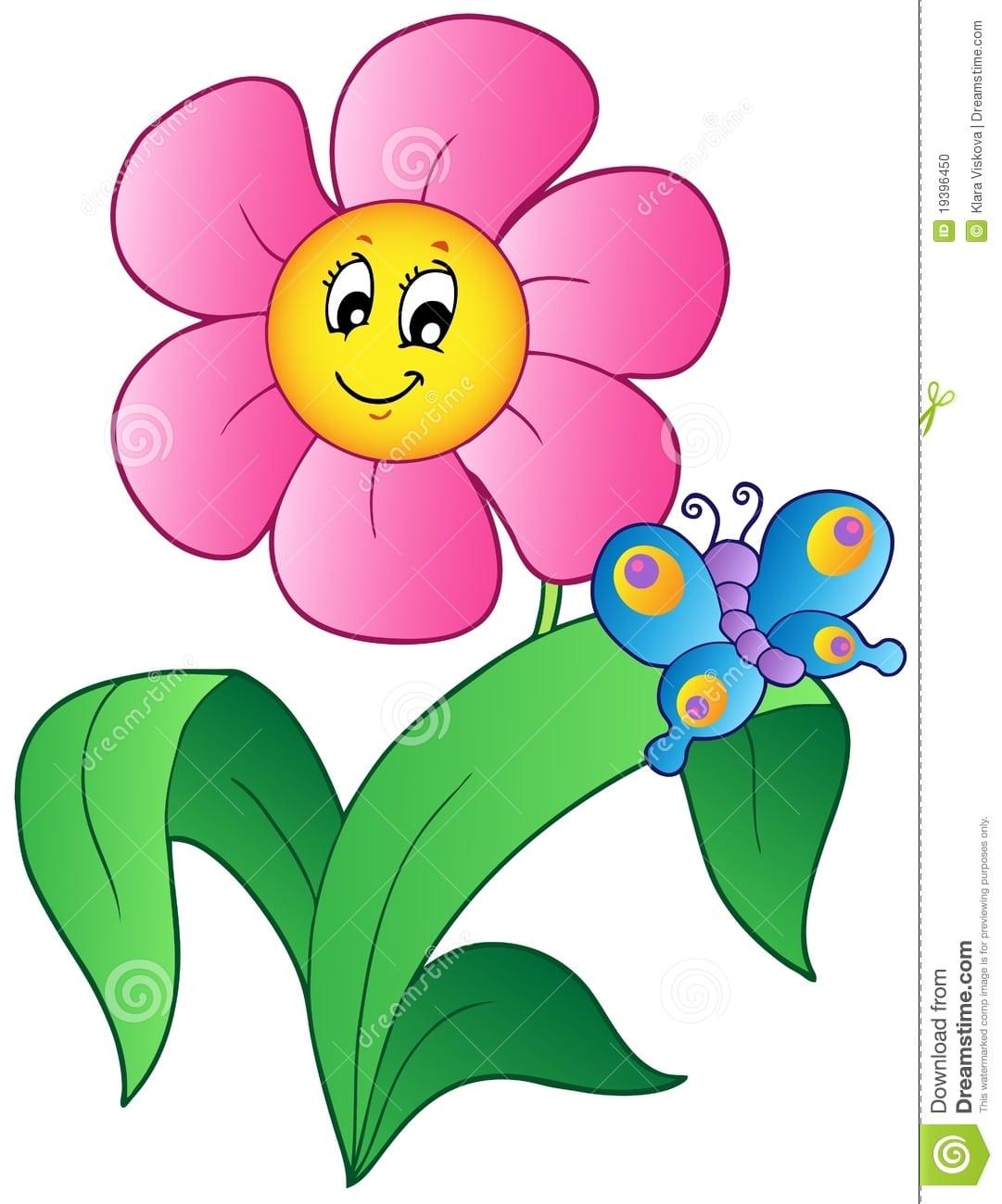 Flor Dos Desenhos Animados Com Borboleta Ilustração Do Vetor