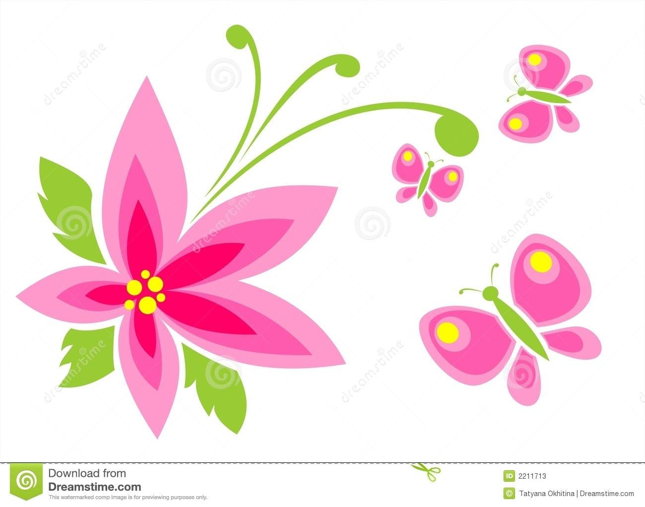 Desenho Flores Borboletas