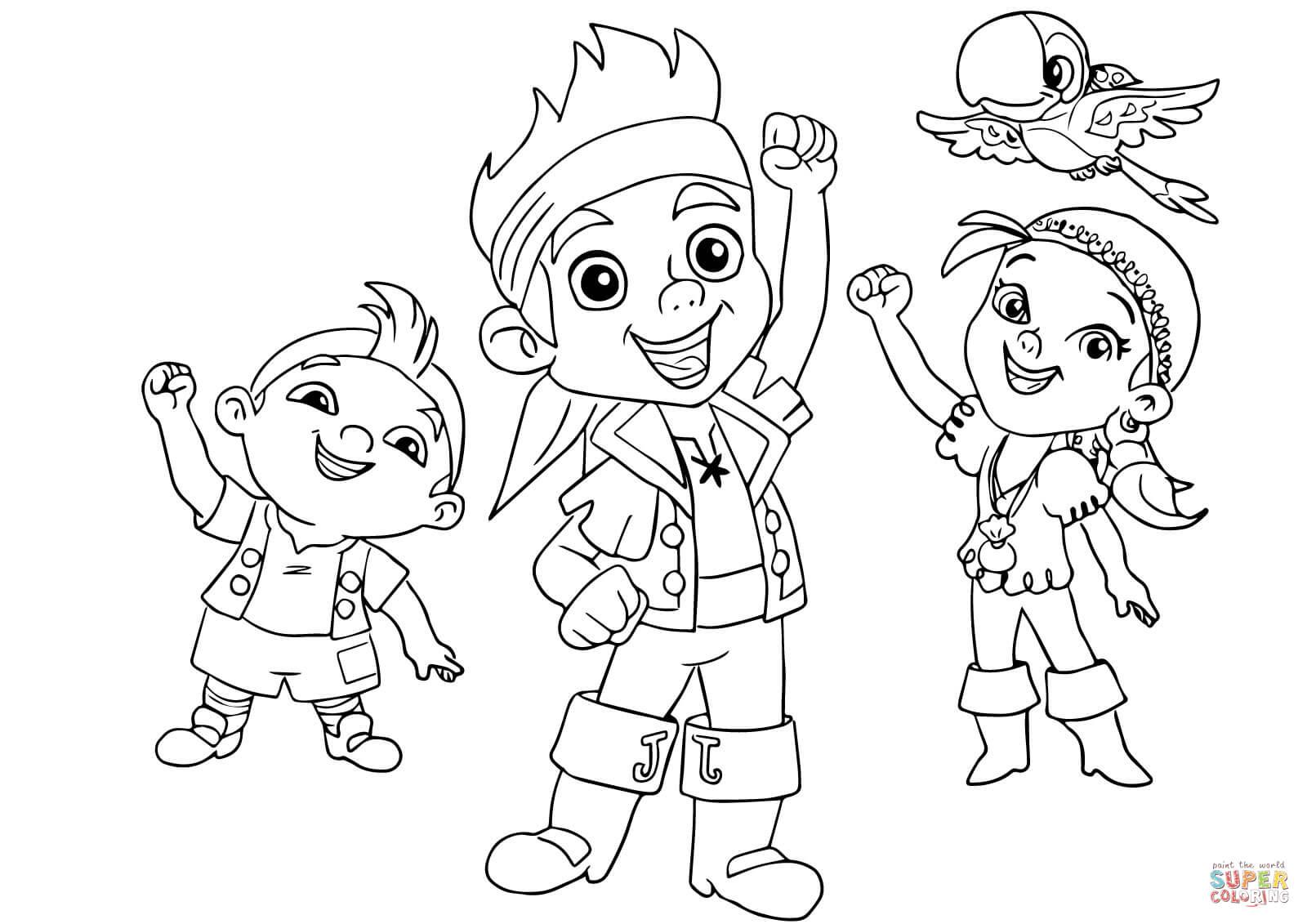 Desenho De Jake, Izzy, Cubby E Skully Estão Festejando Juntos Para