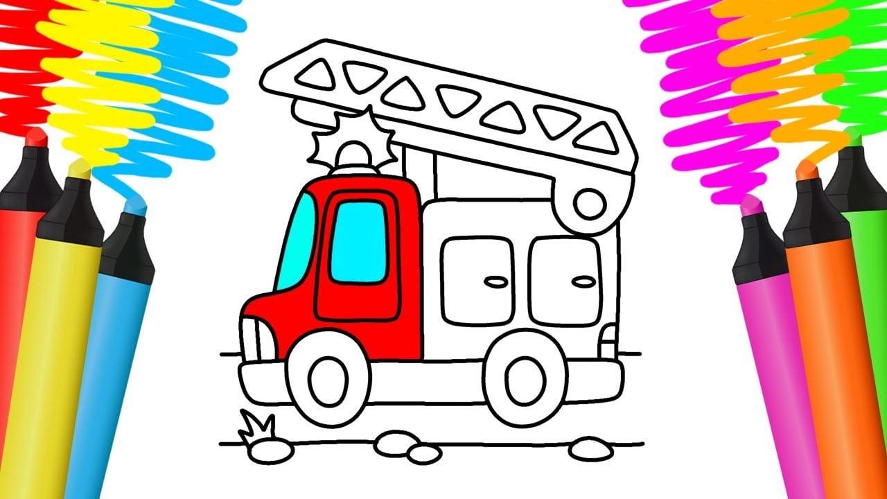 Como Desenhar E Colorir CaminhÃo De Bombeiros – Pintar E Aprender