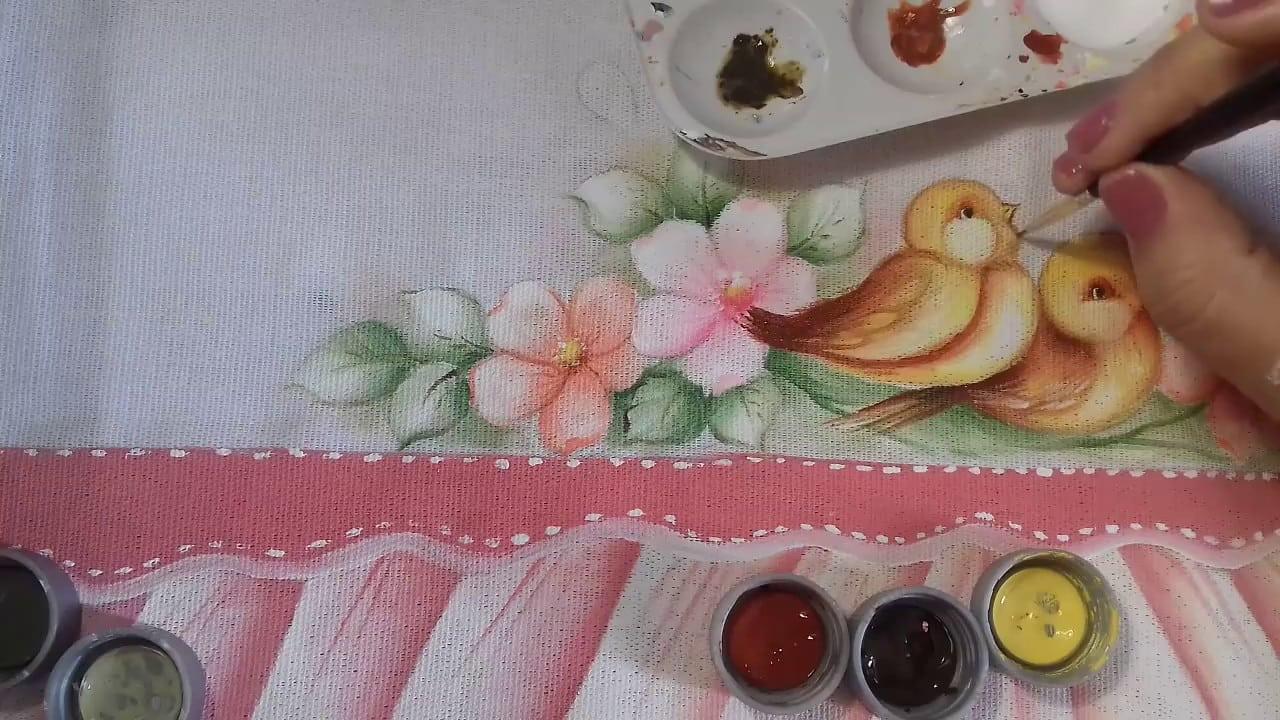 Pintura Em Tecido  Aprenda Pintar Passarinho, Florzinhas, Folhas E