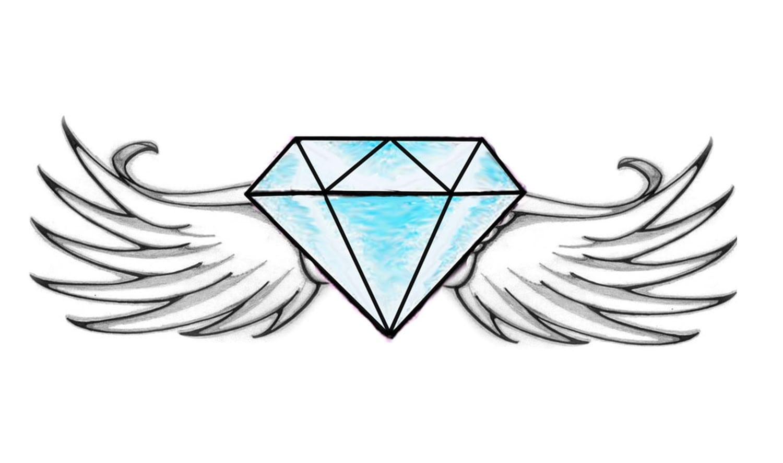 Como Desenhar Um Diamante Com Asas (fácil)