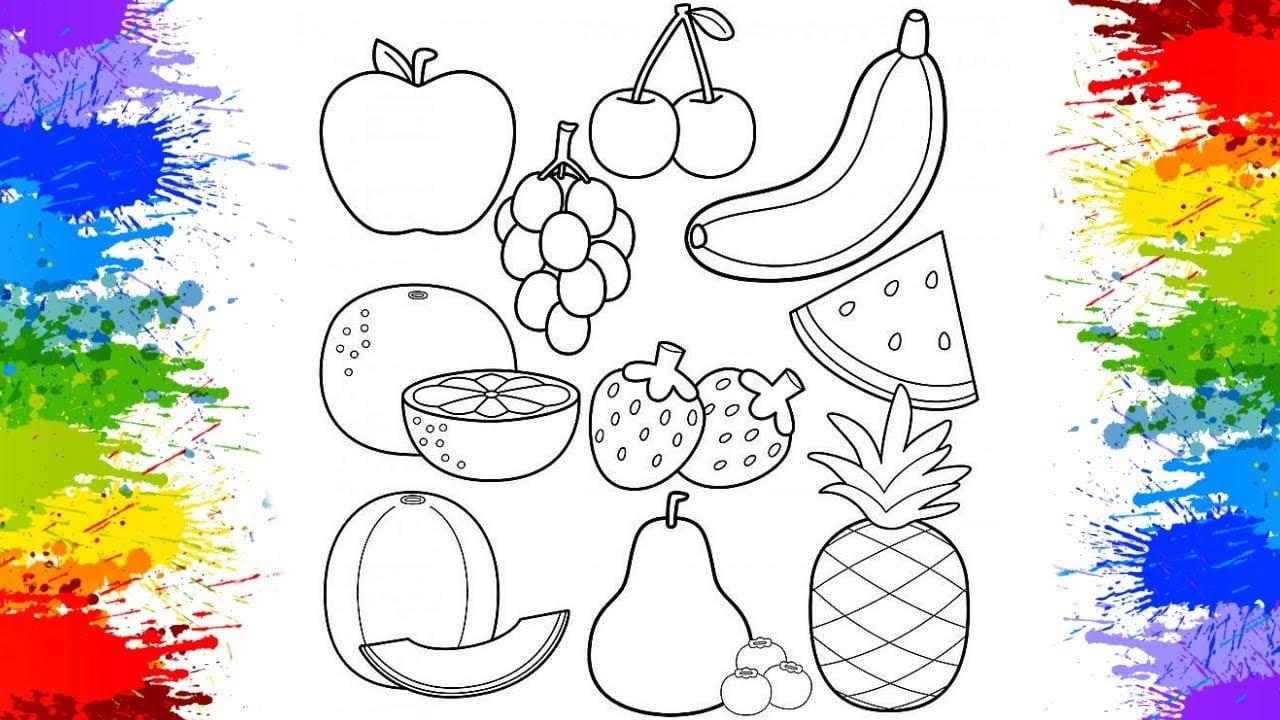 Pintando Frutas Pinturas De Desenhos Divertidos Para Crianças