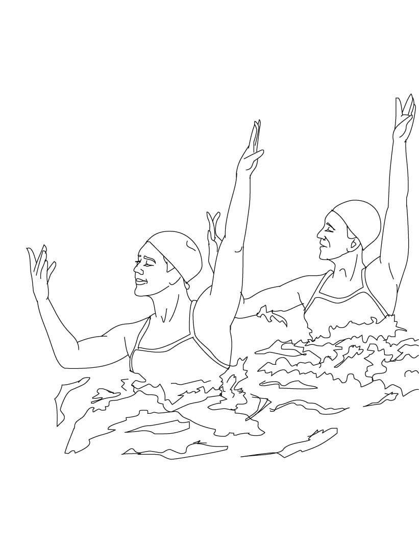 Desenho De Nado Sincronizado Nos Jogos Olímpicos Para Colorir