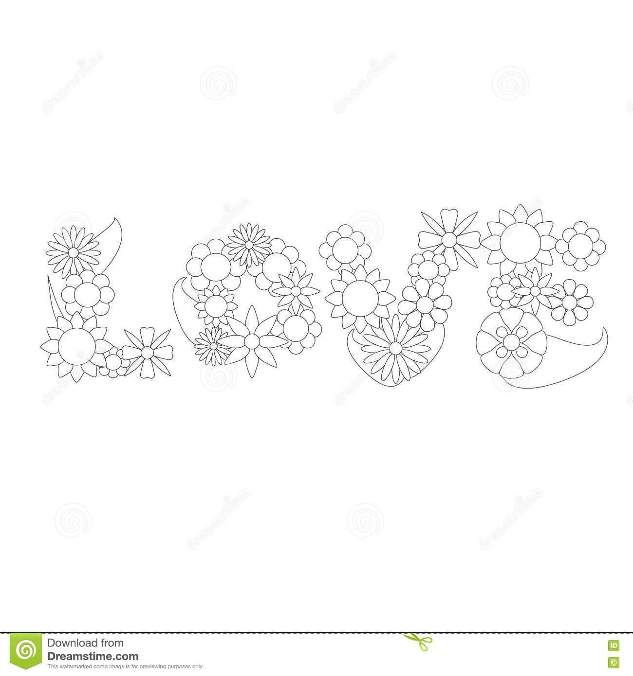 Ornamento Do Vetor Da Palavra Da Flor Do Amor Para Colorir