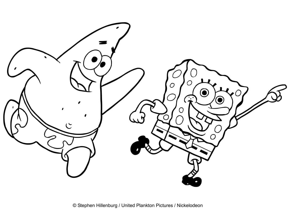 Desenho De Bob Esponja Che Balla Com Patrick Para Colorir