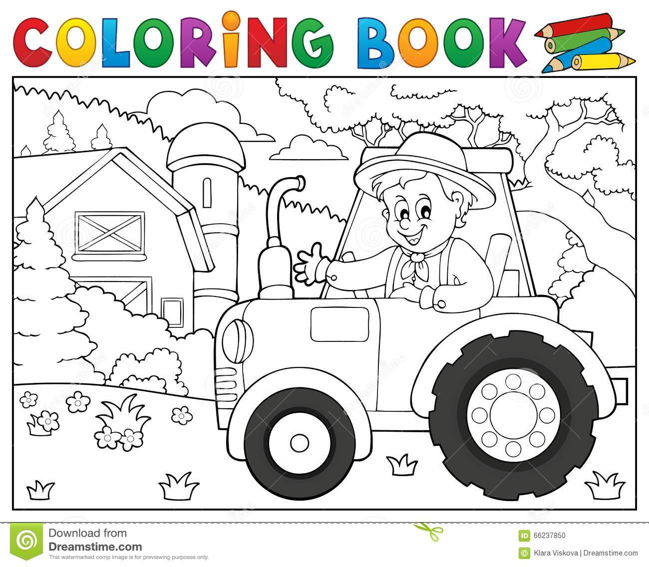 Trator Do Livro Para Colorir Perto Do Tema 1 Da Exploração