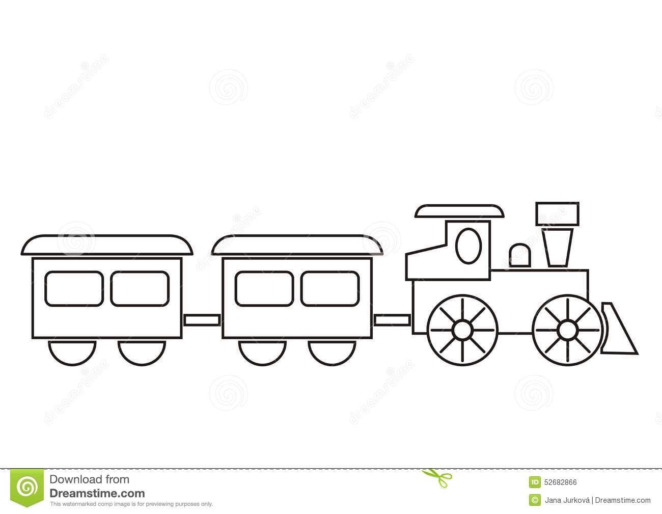 Trem, Livro Para Colorir Ilustração Do Vetor  Ilustração De Esboço