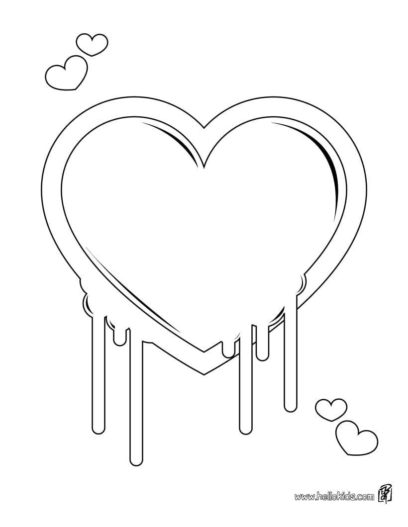 Desenhos Para Colorir De Desenho De Um Coração Com Asas Para