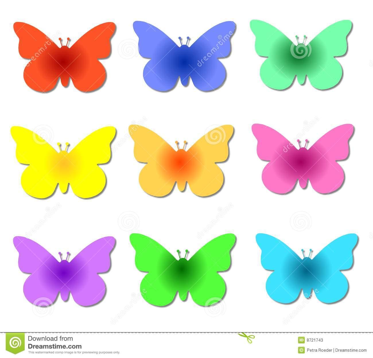 Borboletas Coloridas Ilustração Stock  Ilustração De Múltiplo
