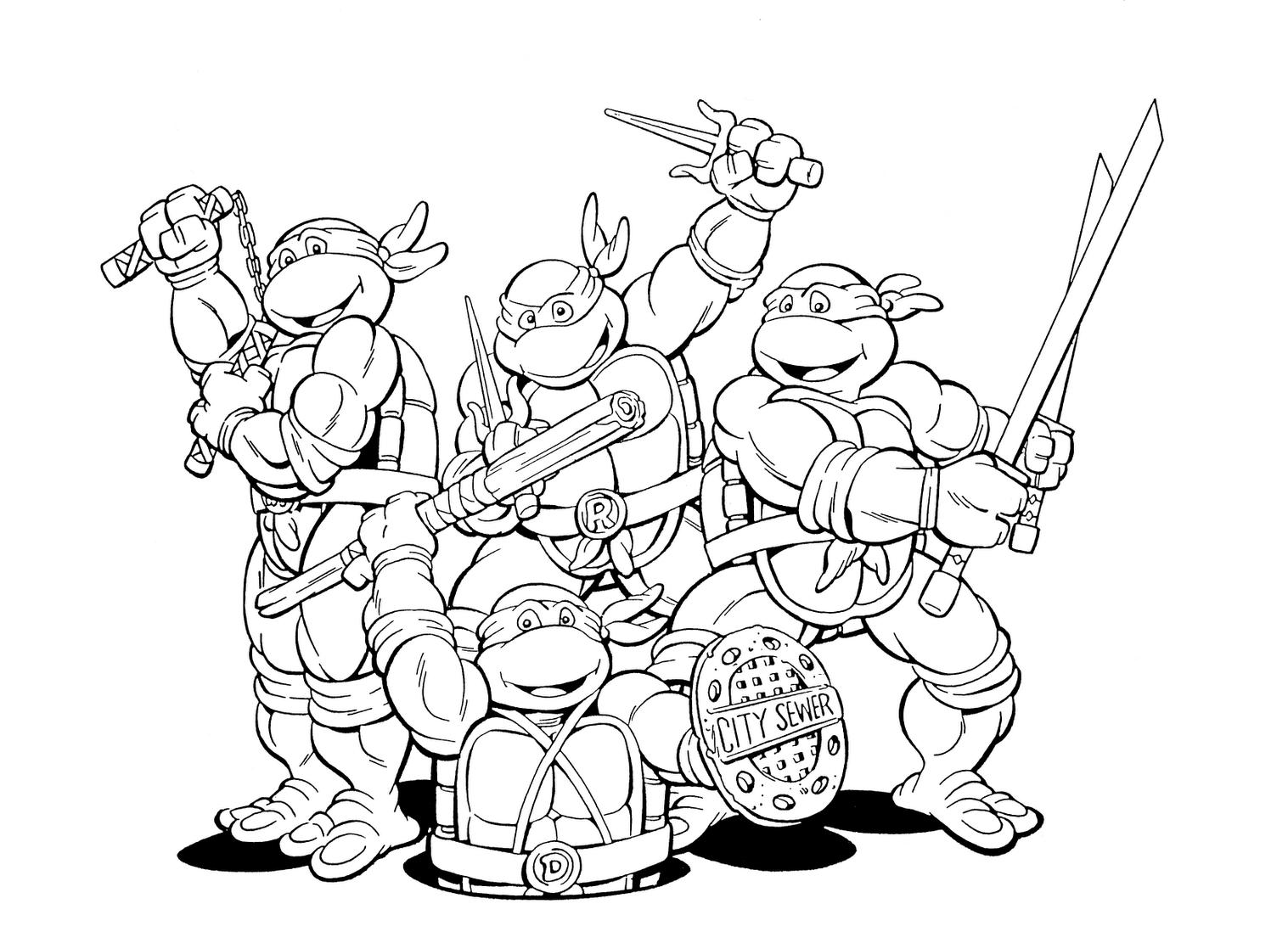 Daring Ninja Turtle Color Page Nickelodeon Turtles ...