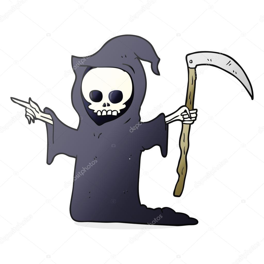 Desenhos Animados Morte Com Foice — Vetores De Stock