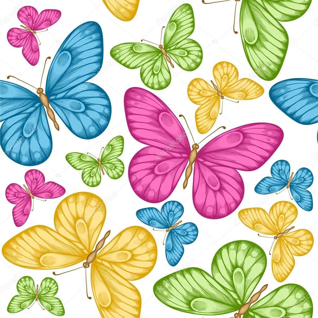 Fundo Transparente Bonito Com Borboletas Coloridas Brilhantes