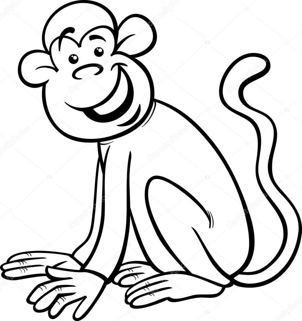 Página Do Macaco Engraçado Dos Desenhos Animados Para Colorir