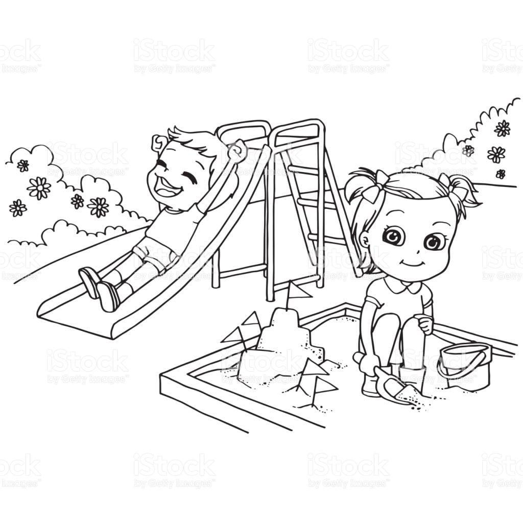 Desenhos Para Colorir CrianÇas No Parque Infantil