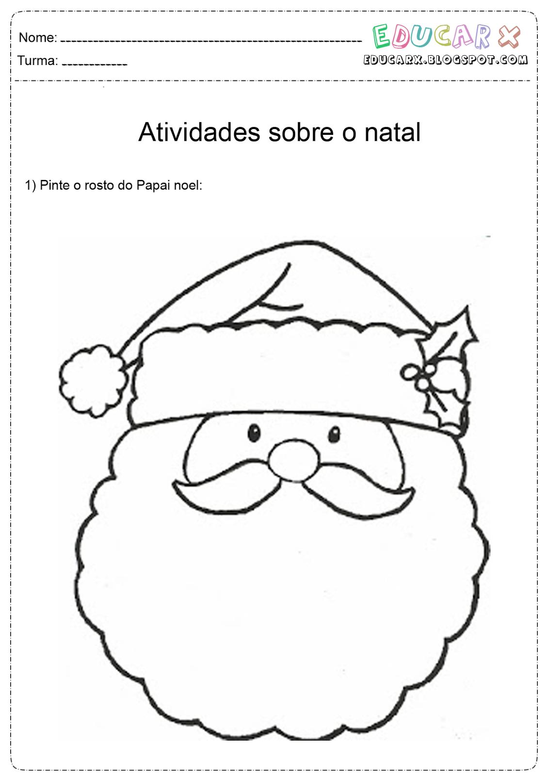Rosto De Papai Noel Para Colorir – Pampekids Net