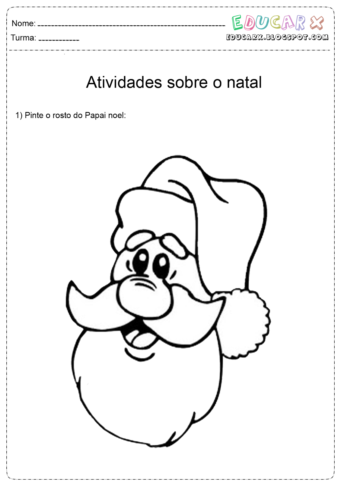 Educar X Rosto De Papai Noel Para Colorir E Imprimir – Pampekids Net