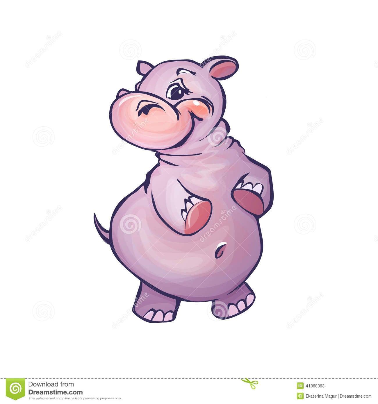 Ilustração Do Vetor Do Hipopótamo Nos Desenhos Animados Ilustração