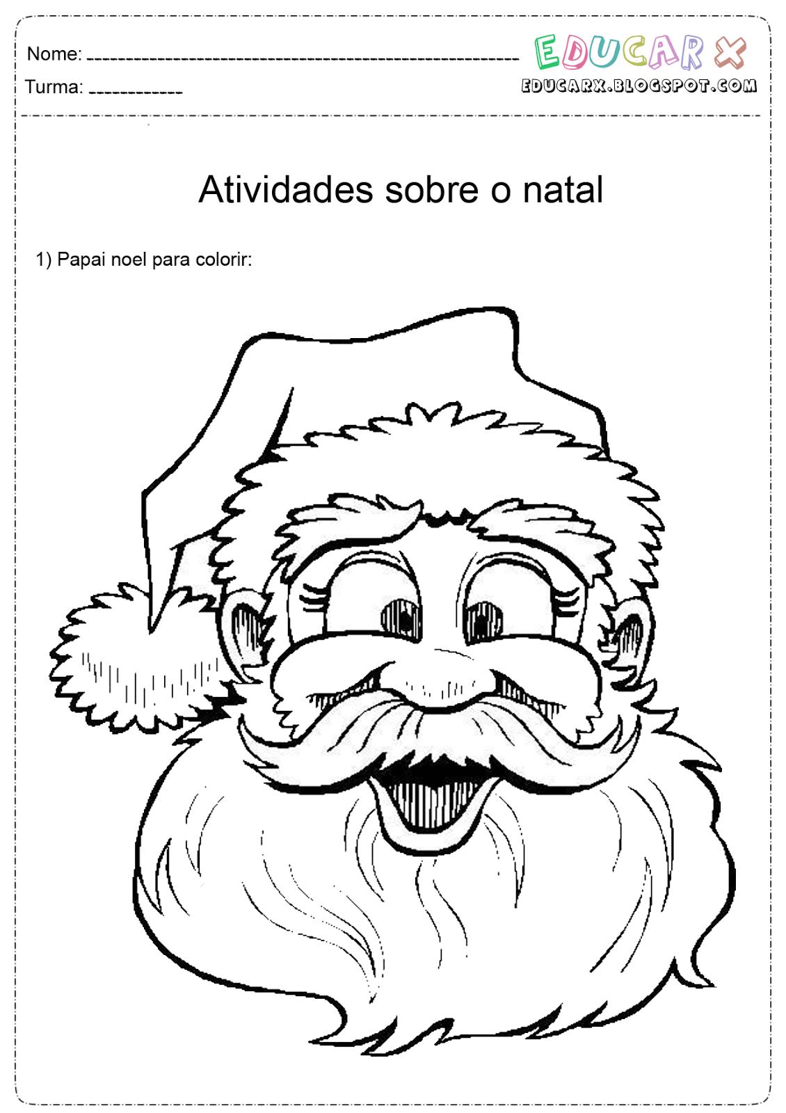 Imagens Do Rosto Do Papai Noel Para Colorir E – Pampekids Net