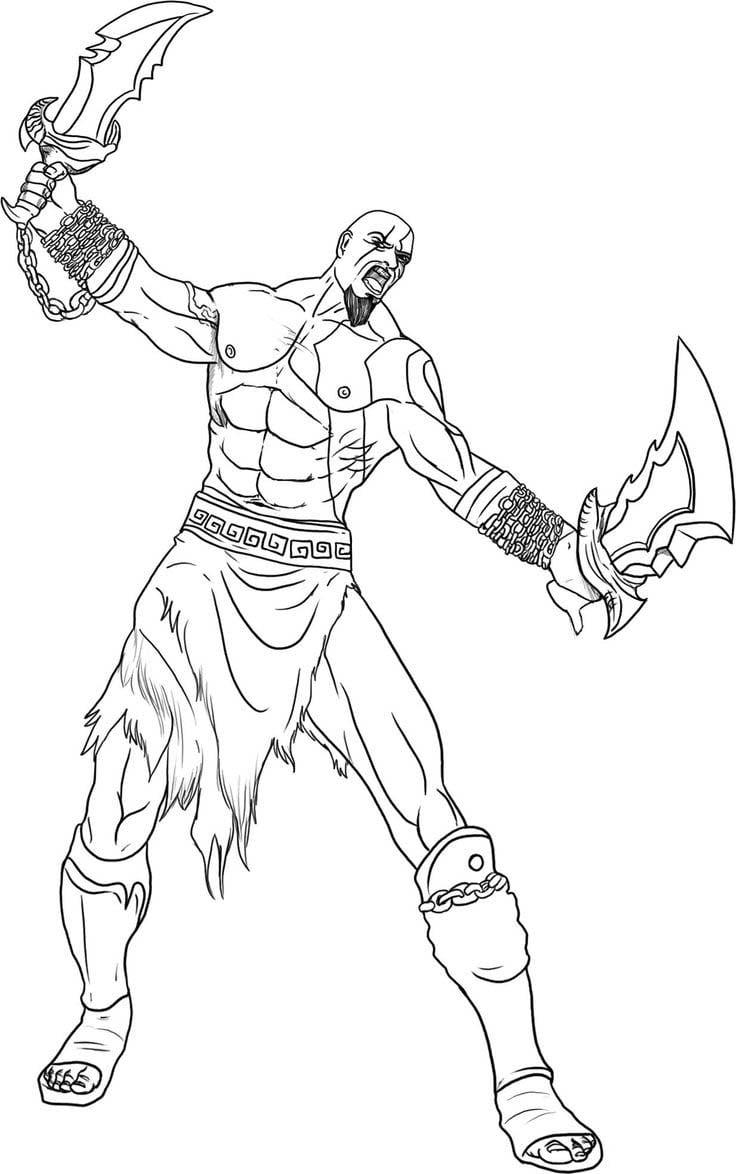 Desenho De Incrível Kratos Para Colorir