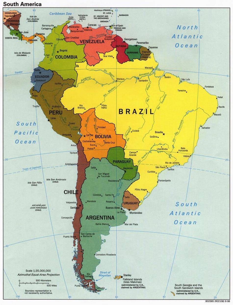 Mapa Politico De Las Americas Para Imprimir