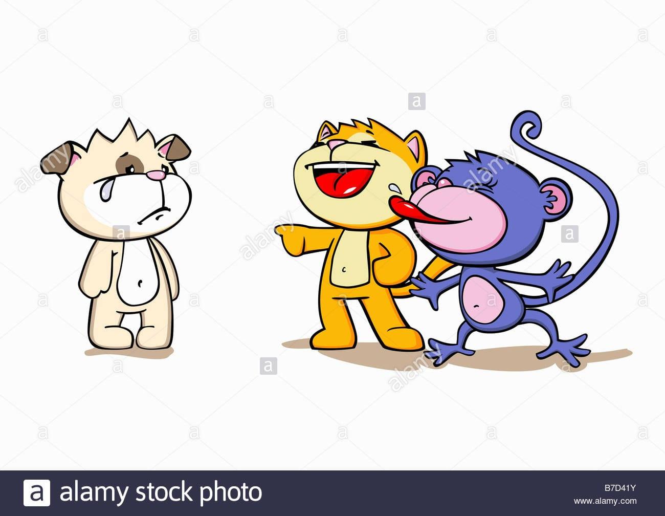 Personagens De Desenhos Animados Bullying Um Amigo Foto, Imagem De