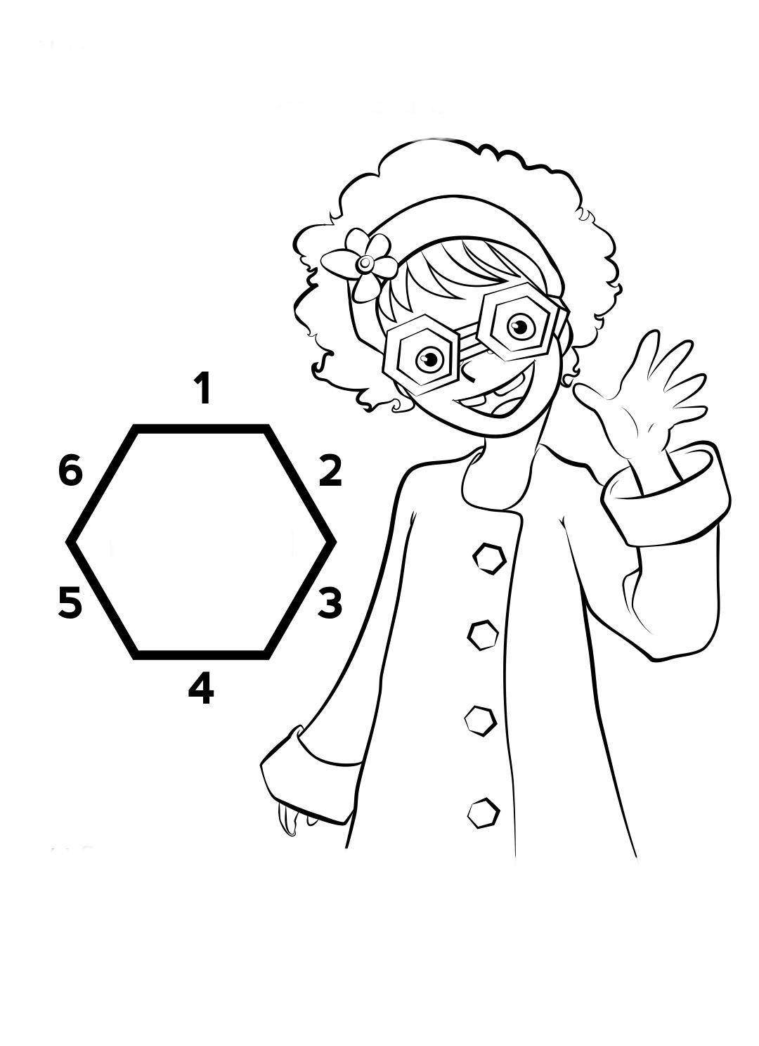 Desenho De Professora E Hexágono Para Colorir