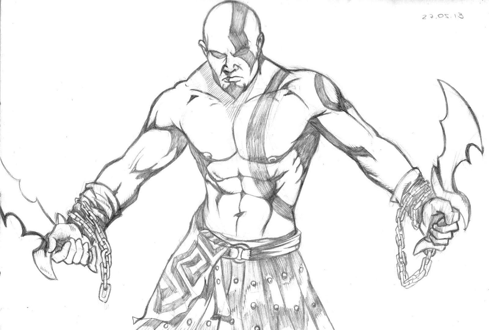Kratos Para Colorir – Pampekids Net