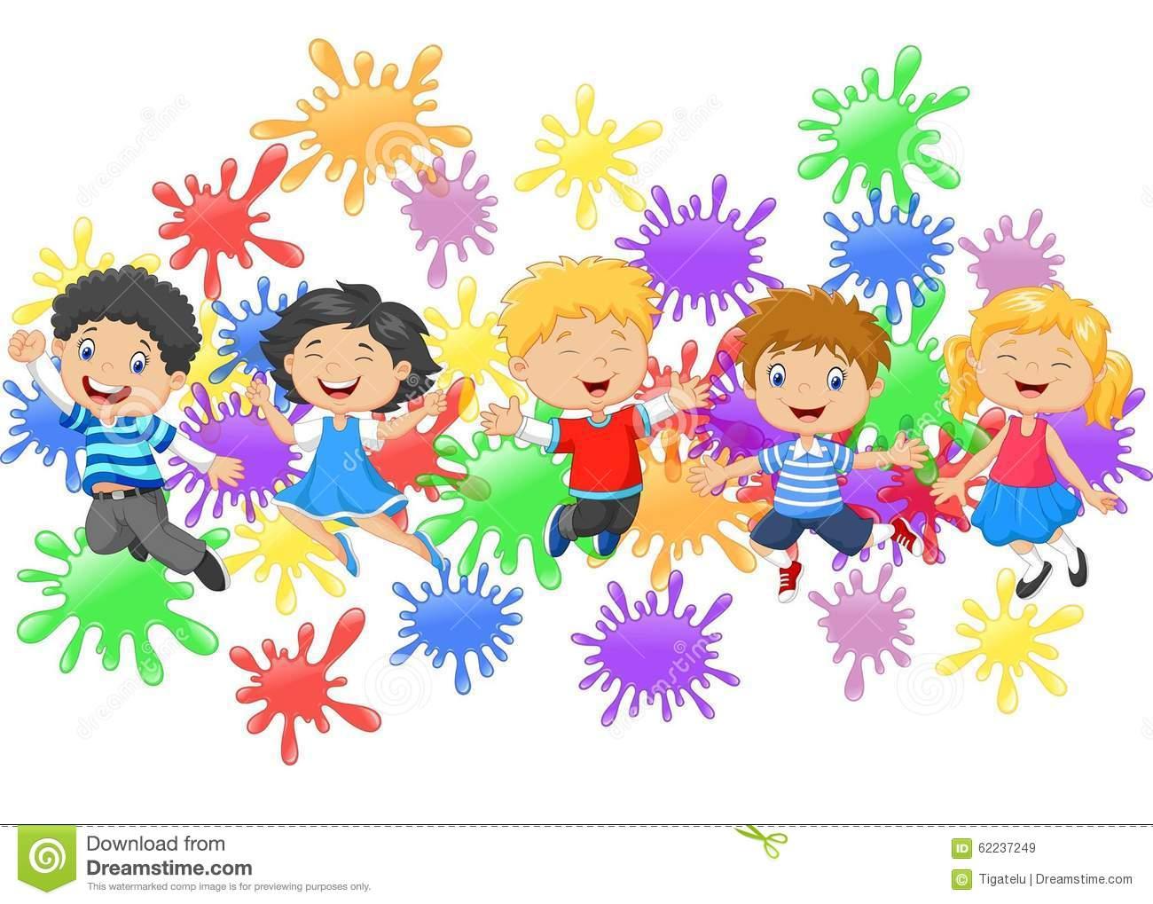 Crianças Dos Desenhos Animados Que Saltam Junto Com A Coleção Do