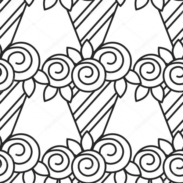 Preto E Branco Padrão Sem Emenda Com Rosas Para Colorir Livro