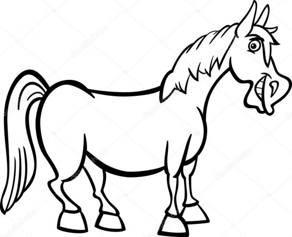 Desenho De Cavalo De Fazenda Para Colorir Livro — Vetor De Stock