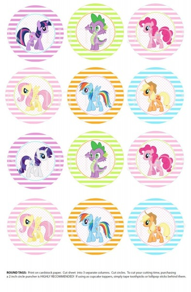 My Little Pony Inspired 2inch Circles, Can Be Used As Cupcake