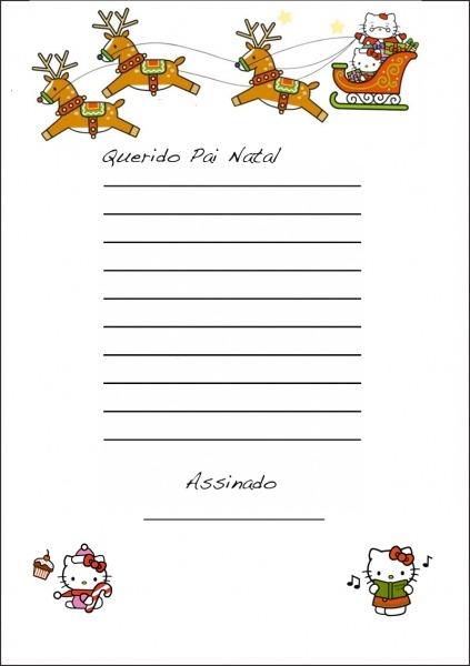 Carta Para O Pai Natal Da Hello Kitty Para Imprimir