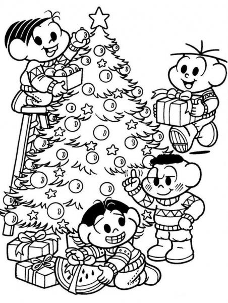 Desenhos Para Colorir Natal Presentes Turma Da Monica