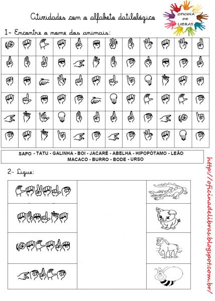 Libras  Uma LÍngua Que Se VÊ   Atividades Alfabeto Manual