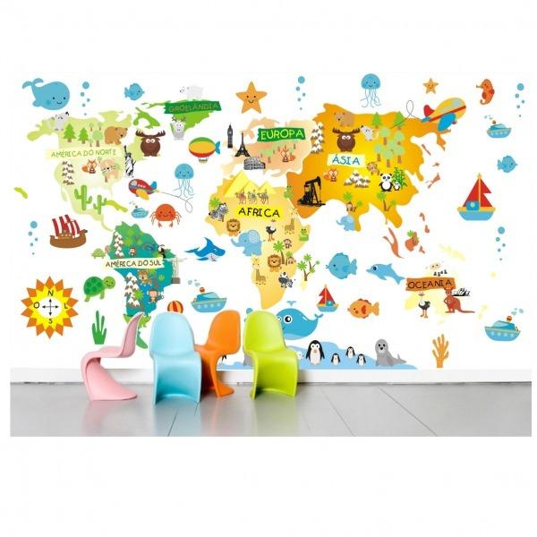 Adesivo Mapa Mundi Infantil Bebe M07 No Elo7
