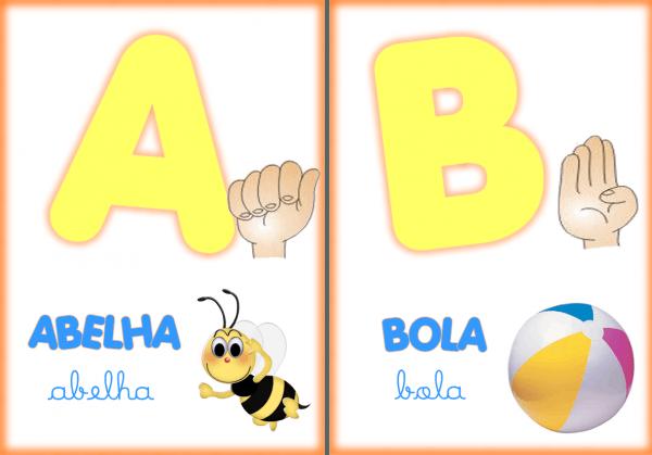 Clube Da Cor Atividades Escolares   Alfabeto Ilustrado Em Libras