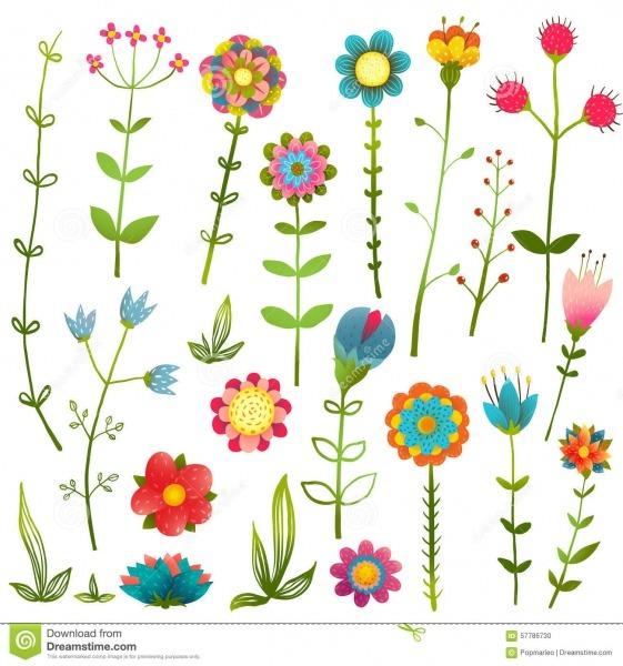 As Flores Selvagens Dos Desenhos Animados Coloridos Isolaram A