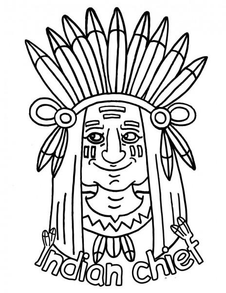 Desenho De Chefe Indígena Para Colorir