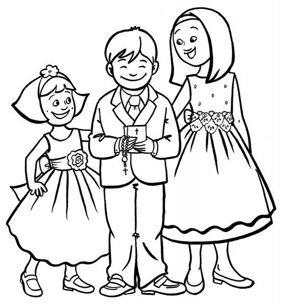 Desenho De Crianças Na Primeira Comunhão Para Colorir