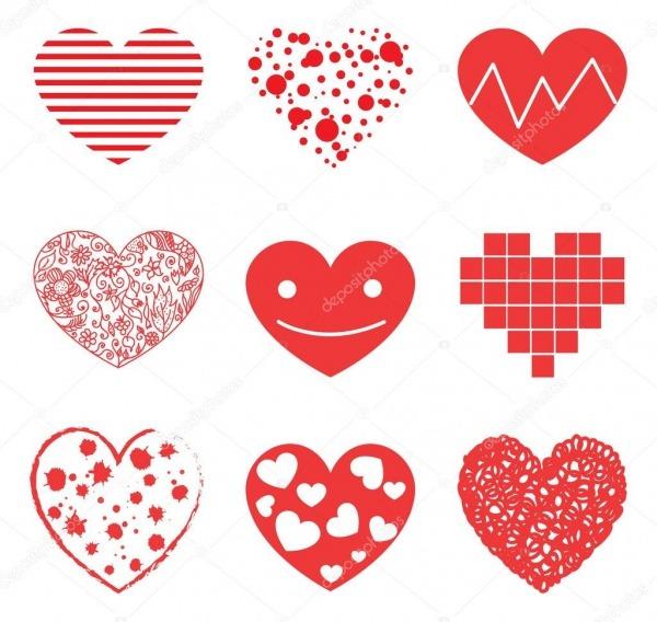 Desenhos Animados Românticos Corações — Vetor De Stock