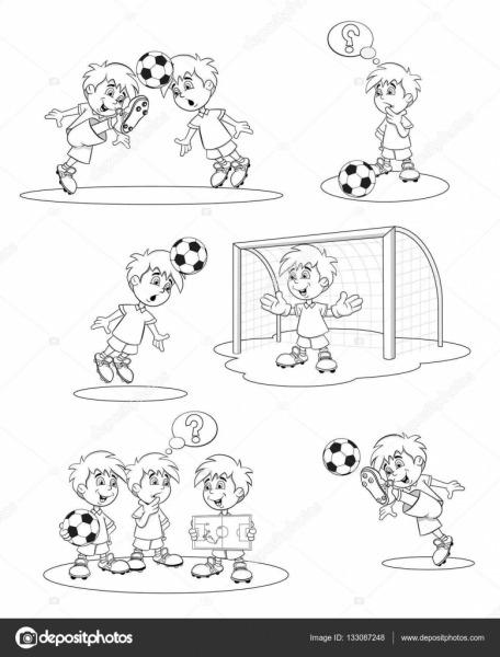 Conjunto De Jogadores De Futebol Dos Desenhos Animados  Ilustração