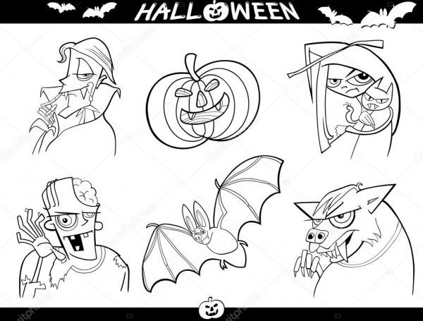 Temas De Desenhos Animados De Halloween Para Colorir — Vetores De