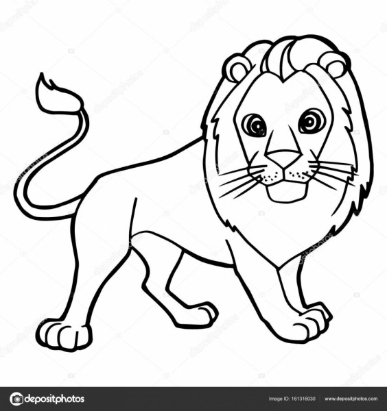Desenho Animado Leão Bonito Colorir Vetor De Página — Vetores De