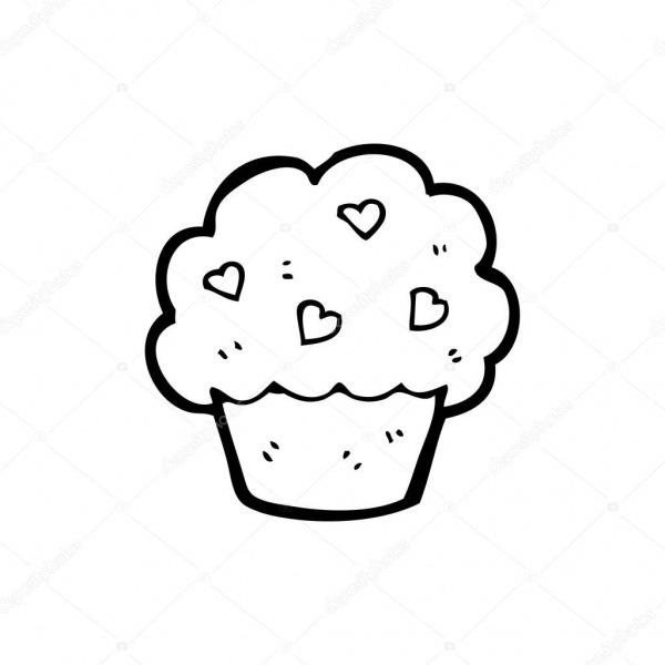Desenho De Cupcake Corações — Vetores De Stock © Lineartestpilot