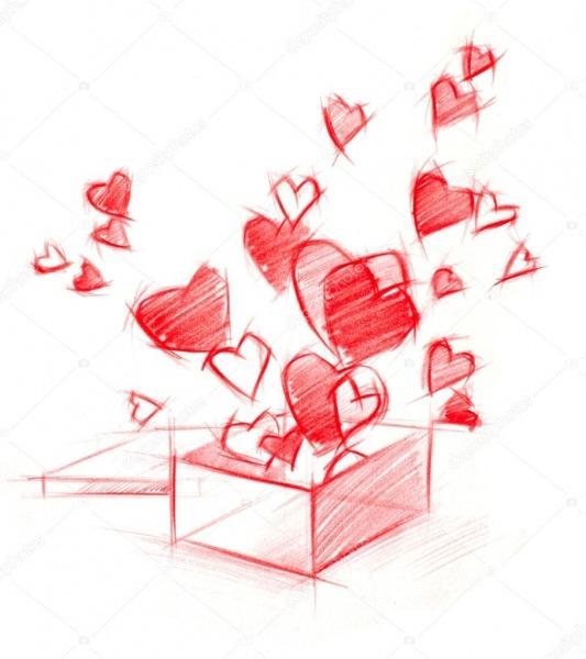 Desenho De Esboço De Caixa Com Corações, Isoladas No Branco
