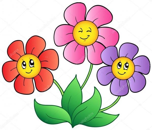 Três Flores De Desenho Animado — Vetores De Stock © Clairev  5595147
